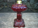 RUBY MINIATURE PRINCESS FEATHER OIL LAMP GLASS LAMPS F