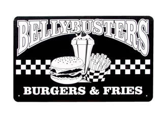 BELLY BUSTERS TIN SIGN BURGERS FRIES METAL SIGN