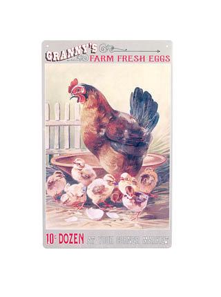 GRANNY'S FARM FRESH EGGS METAL SIGN