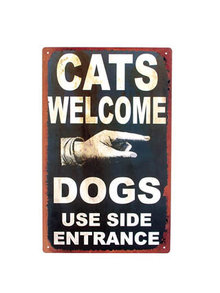 CATS WELCOME TIN METAL SIGN