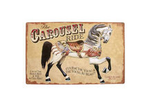 CAROUSEL RIDE TIN METAL SIGN