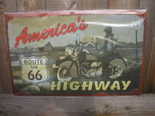 AMERICA'S HIGHWAY ROUTE 66 TIN SIGN