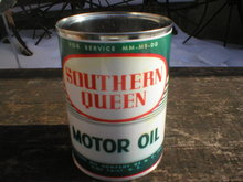 NEW SOUTHERN QUEEN MOTOR OIL 32 FL. OZ. METAL CAN S