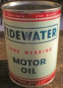 NEW TIDEWATER MOTOR OIL 32 FL. OZ. METAL CAN T