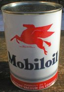 NEW MOBILOIL MOTOR OIL 32 FL. OZ. METAL CAN