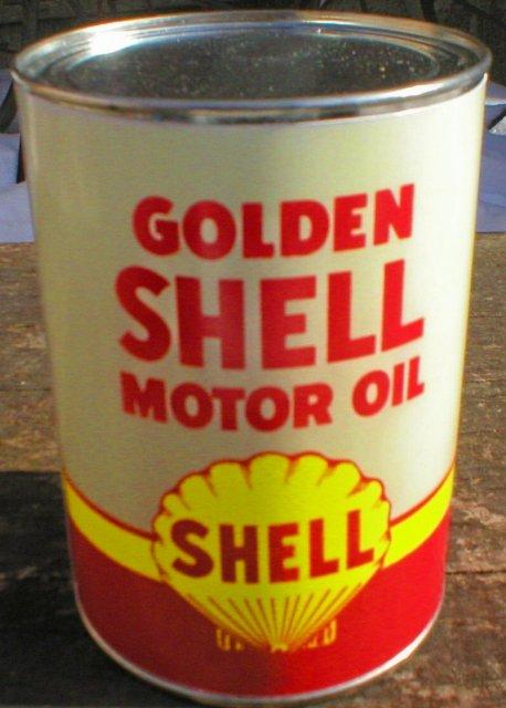NEW GOLDEN SHELL MOTOR OIL 32 FL. OZ. METAL CAN