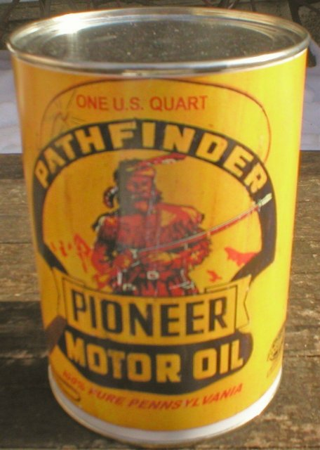 NEW PATHFINDER PIONEER MOTOR OIL 32 FL. OZ. METAL CAN