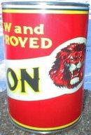 NEW LION HEAD GILMORE MOTOR OIL 32 FL. OZ. METAL CAN