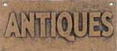 ANTIQUES SIGN ONE TAN VINTAGE STYLE CAST IRON