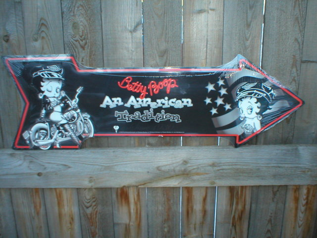 BETTY BOOP ARROW TIN SIGN METAL ADV SIGNS B
