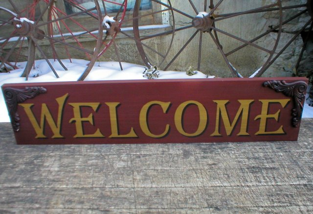 WOOD WELCOME SIGN HOME OFFICE DECK DECOR