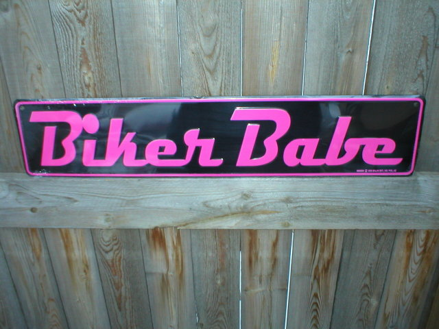 BIKER BABE ALUMINUM SIGN METAL RETRO ADV AD SIGNS B