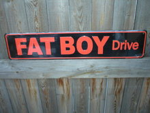 FAT BOY DRIVE SIGN METAL RETRO ADV BIKER SIGNS F