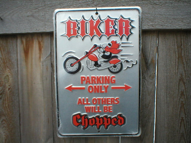 BIKER PARKING ONLY  ALUMINUM SIGN METAL RETRO ADV SIGNS