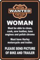 MOTORCYCLE WOMAN  ALUMINUM SIGN METAL ADV SIGNS W