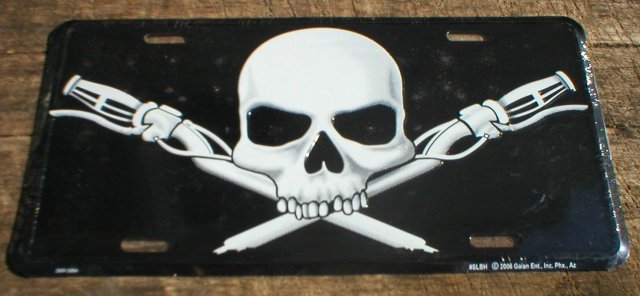 SKULL HANDLEBARS LICENSE PLATE SIGN METAL ADV AD SIGNS