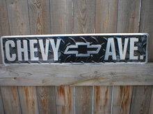 CHEVY AVE. TIN METAL SIGN