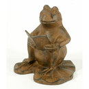 CAST IRON FROG READING DECORATIVE FROG GARDEN  DECOR F