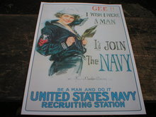 NAVY POSTER PRINT SIGN RETRO ADV AD SIGNS M