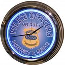 POLICE OFFICERS BLUE NEON CLOCK SIGN CHROME RETRO SIGNS