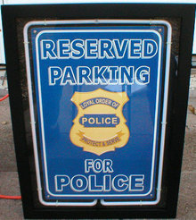 POLICE PARKING ONLY NEON CLOCK SIGN METAL SIGNS F