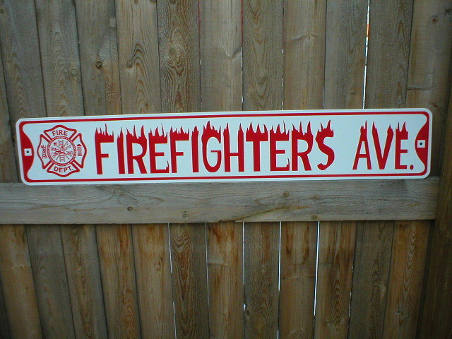FIREFIGHTERS AVE BIKE BAR SIGN  STREET SIGN L