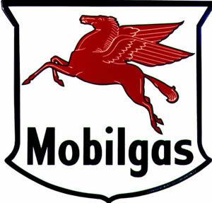 MOBILGAS SHIELD VINYL DECAL GAS PUMP GLOBE ADV DECOR M