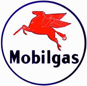 MOBILGAS ROUND VINYL DECAL GAS PUMP GLOBE DECOR