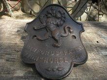 BAMFORDS' PATENT LION HORSE RAKE NAME PLATE CAST IRON