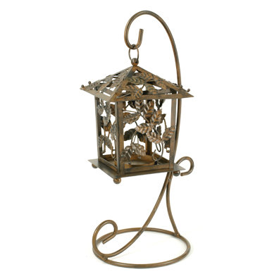 CAST IRON LANTERN & STAND IRONWARE PATIO DECK DECOR L
