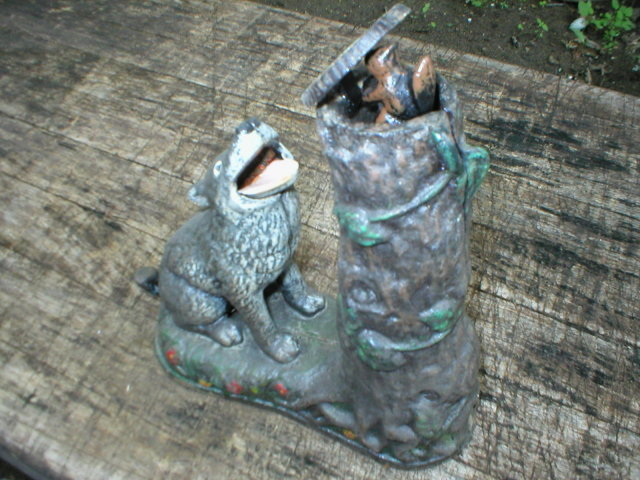 WOLF & SQUIRREL MECHANICAL BANK HUBLEY