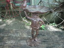 FROG BIRDFEEDER WATERER CAST IRON