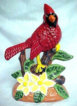 CAST IRON RED CARDINAL BIRD DOORSTOP C