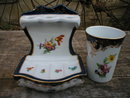 PORCELAIN BATHROOM ACCESSORY SET GLASS COLLECTIBLE NR