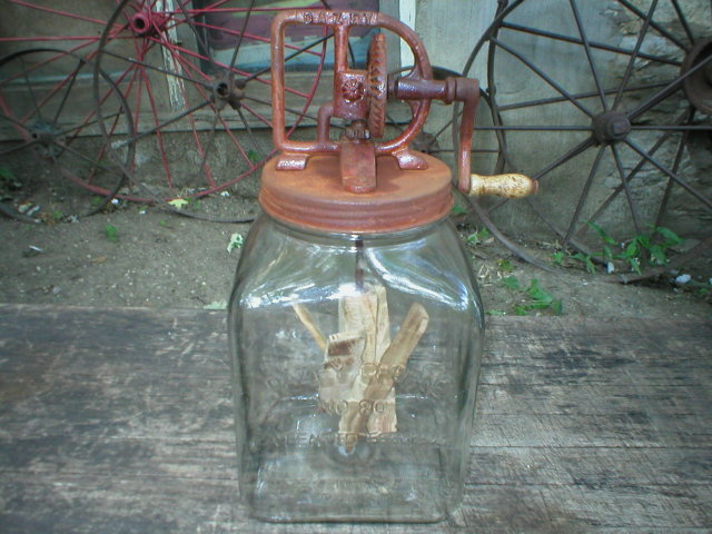 LARGE GLASS BUTTER CHURN DECORATIVE HOME DECOR D