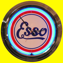 ESSO BLUE NEON CLOCK SIGN CHROME RETRO AD SIGNS S