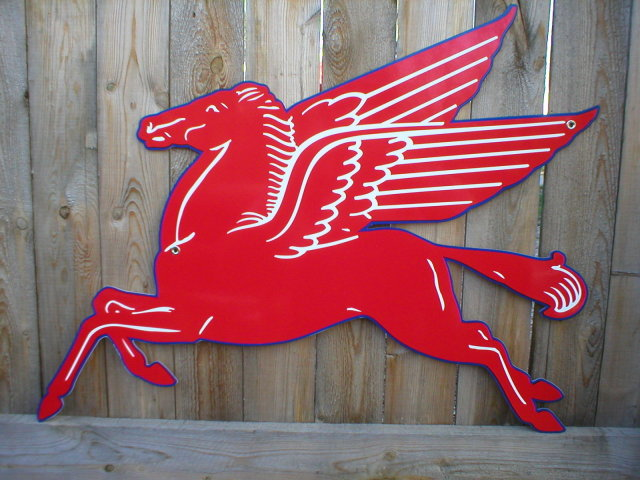 LARGE MOBILGAS PEGASUS HEAVY STEEL SIGN