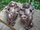 TWO CAST IRON HANGING WALL ANGELS IRONWARE DECOR A
