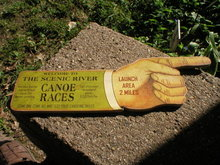 SCENIC RIVER CANOE RACES PRESSED WOOD SIGN ADV SIGNS C
