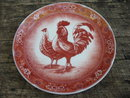 PORCELAIN RED TRANSFERWARE ROOSTER PLATE R
