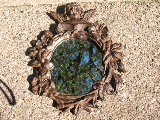 CAST IRON RUSTIC ANGEL MIRROR IRONWARE DECOR A