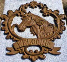 CAST IRON HORSE WELCOME SIGN IRONWARE DECOR H