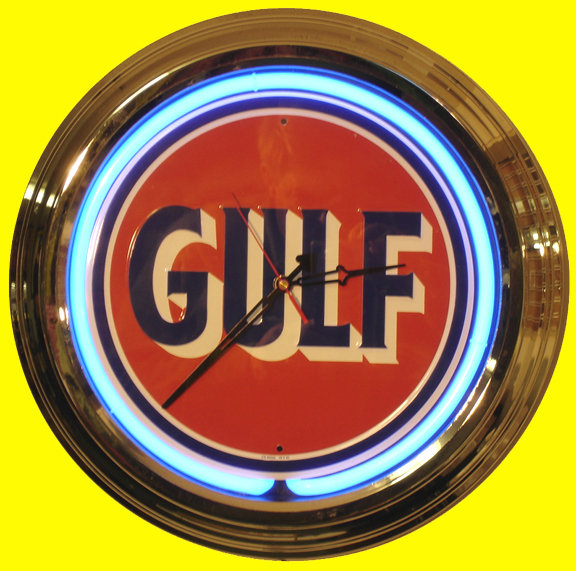 GULF BLUE NEON CLOCK SIGN CHROME RETRO AD SIGNS NR S