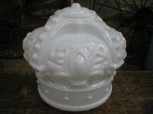 MILK GLASS CROWN GAS PUMP GLOBE