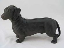 CAST IRON STANDING DACHSHUND BANK D