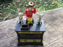 CAST IRON ORGAN GRINDER BANK DOG CAT