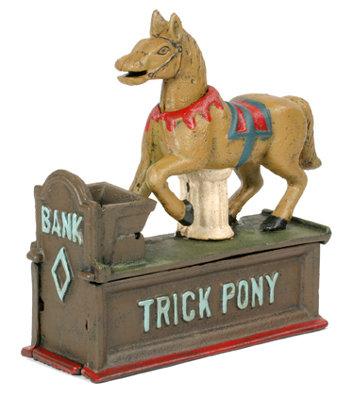 CAST IRON TRICK PONY MECHANICAL BANK