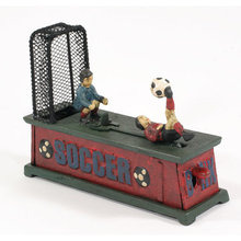 CAST IRON SOCCER MECHANICAL BANK S