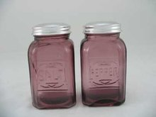 ONE SET AMETHYST SQUARE SALT & PEPPER SHAKERS A