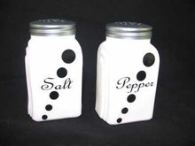 ONE SET MILK GLASS ARCH BLACK DOT SALT & PEPPER SHAKERS M